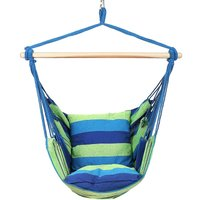 Camping Tent Hanging Hammock Chair 120KG Blue Home Portable Outdoor Swing Chair Outdoor Seating Camping Garden - AUGIENB