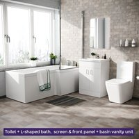 Neshome - Cann L-Shaped Right Handed Bath Set, Close Coupled Toilet, 600mm Floor Standing Vanity Basin Unit White Suite