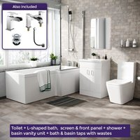 Neshome - Cann L-Shaped Right Handed Bath Set, Close Coupled Toilet, 600mm Floor Standing Vanity Basin Unit White, Tap and Shower Suite