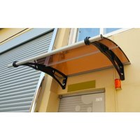 CANOFIX Door Canopy PC 1200 Width x 1000 Projection / DIY Polycarbonate Cantilever Awning/Window Door Pathway Walkway Garden Shed Porch Patio (Black