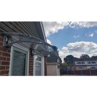 CANOFIX Door Canopy PC 1200 Width x 1000 Projection / DIY Polycarbonate Cantilever Awning/Window Door Pathway Walkway Garden Shed Porch Patio (Grey