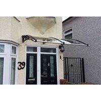 CANOFIX Door Canopy PC 1500 Width x 1500 Projection / DIY Polycarbonate Cantilever Awning/Window Door Pathway Walkway Garden Shed Porch Patio (Black