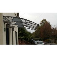 CANOFIX Door Canopy PC 1500 Width x 1500 Projection / DIY Polycarbonate Cantilever Awning/Window Door Pathway Walkway Garden Shed Porch Patio (Grey