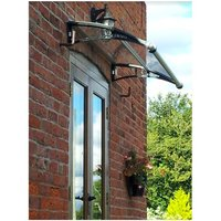 CANOFIX Door Canopy PC 1500 Width x 650 Projection / DIY Polycarbonate Cantilever Awning/Window Door Pathway Walkway Garden Shed Porch Patio (Black