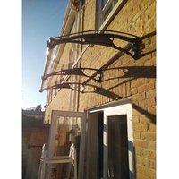 CANOFIX Door Canopy PC 2500 Width x 1000 Projection / DIY Polycarbonate Cantilever Awning/Window Door Pathway Walkway Garden Shed Porch Patio (Black