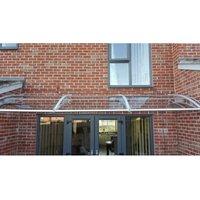 CANOFIX Door Canopy PC 2500 Width x 1500 Projection / DIY Polycarbonate Cantilever Awning/Window Door Pathway Walkway Garden Shed Porch Patio (Grey