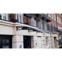 CANOFIX Door Canopy PC 3000 Width x 1500 Projection / DIY Polycarbonate Cantilever Awning/Window Door Pathway Walkway Garden Shed Porch Patio (Black