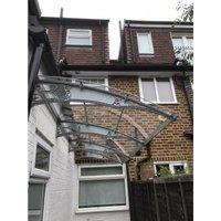 CANOFIX Door Canopy PC 3500 Width x 1270 Projection / DIY Polycarbonate Cantilever Awning/Window Door Pathway Walkway Garden Shed Porch Patio (Grey