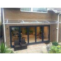 CANOFIX Door Canopy PC 3500 Width x 1500 Projection / DIY Polycarbonate Cantilever Awning/Window Door Pathway Walkway Garden Shed Porch Patio (Grey