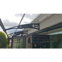 CANOFIX Door Canopy PC 4000 Width x 1270 Projection / DIY Polycarbonate Cantilever Awning/Window Door Pathway Walkway Garden Shed Porch Patio (Black