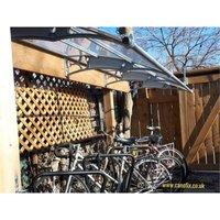 CANOFIX Door Canopy PC 4000 Width x 1270 Projection / DIY Polycarbonate Cantilever Awning/Window Door Pathway Walkway Garden Shed Porch Patio (Grey