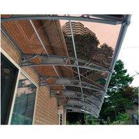 CANOFIX Door Canopy PC 6000W x 1500P / DIY Polycarbonate Cantilever Awning/Window Door Pathway Walkway Garden Shed Porch Patio (Grey Bracket - Bronze