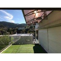 CANOFIX Door Canopy PC 6500W x 1500P / DIY Polycarbonate Cantilever Awning/Window Door Pathway Walkway Garden Shed Porch Patio (Black Bracket