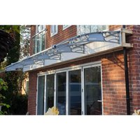CANOFIX Door Canopy PC 6500W x 1500P / DIY Polycarbonate Cantilever Awning/Window Door Pathway Walkway Garden Shed Porch Patio (Grey Bracket - Clear