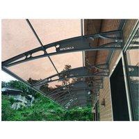 CANOFIX Door Canopy PC 7000W x 1500P / DIY Polycarbonate Cantilever Awning/Window Door Pathway Walkway Garden Shed Porch Patio (Grey Bracket - Bronze