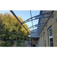 Canofix Uk - CANOFIX Door Canopy PC 7000 Width x 1500 Projection / DIY Polycarbonate Cantilever Awning/Window Door Pathway Walkway Garden Shed Porch
