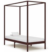 Canopy Bed Frame Dark Brown Solid Pine Wood 90x200 cm16008-Serial number