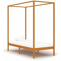 Canopy Bed Frame Honey Brown Solid Pine Wood 90x200 cm
