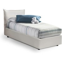 Canopy Single Bed White Side Container, Structure: Wood / Coating: Faux Leather / Opening Mechanism: Iron - TALAMO ITALIA