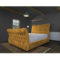 Furniturebox Uk - Canterbury Mustard Alaska Double Bed Frame