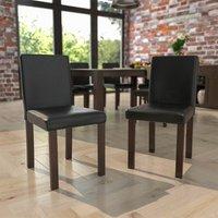 Canterbury Set Of 2 PU Dining Chairs, Black and Walnut -