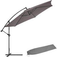 Tectake - Cantilever Parasol 350cm with protective sleeve - garden parasol, overhanging parasol, banana parasol - grey