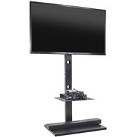 Unho - Cantilever Steel Floor TV Stand with 2 Shelves Bracket for 32-65 inch LED LCD TV