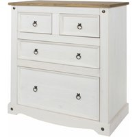 Carala Pine White 2+2 Drawer Chest White Painted Bedroom Chest - NETFURNITURE