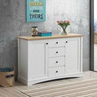 Carden Sideboard 2 Doors 4 Drawers Buffet Storage Cabinet Cupboard White Oak