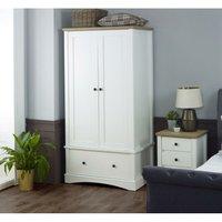 Carden White 2 Door Double Wardrobe 1 Drawer Bedroom Furniture Storage Cupboard - TIMBER ART DESIGN UK