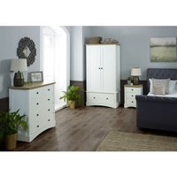 Carden White 3 Piece Bedroom Set Double Wardrobe 3+2 Chest Bedside Table - TIMBER ART DESIGN UK