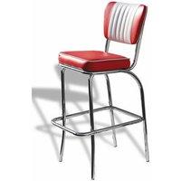 Netfurniture - Carolina Quality Retro Padded Kitchen Bar Stool Chrome Legs Pre Assembled Red Chrome