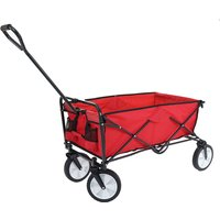 Mendler - Carrello carriola pieghevole HWC-E38 acciaio tessuto senza tetto rosso