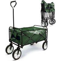 Carrello da trasporto pieghevole verde con ruote in plastica e maniglia anche per percorsi offroad - WILTEC