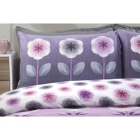 Carrie Mauve Floral Double Duvet Cover Set Reversible Bedding Bed Set Bed Linen - RAPPORT