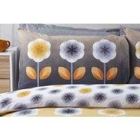 Carrie Ochre Floral Double Duvet Cover Set Reversible Bedding Bed Set Bed Linen - RAPPORT