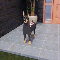 Cartoon Animals Cute Wooden Dog Shape Pot Plant Garden Decorated Doberman Planter,model:Multicolor type7andS