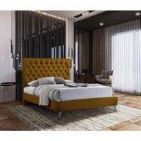 Casana Contemporary Bed Frame - Plush Velvet, Small Double Size Frame, Mustard