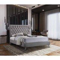 Casana Contemporary Bed Frame - Plush Velvet, Double Size Frame, Steel