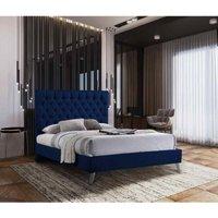 Casana Contemporary Bed Frame - Plush Velvet, Small Double Size Frame, Blue