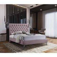 Casana Contemporary Bed Frame - Plush Velvet, Double Size Frame, Pink
