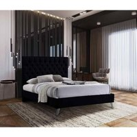 Casana Contemporary Bed Frame - Plush Velvet, Small Double Size Frame, Black