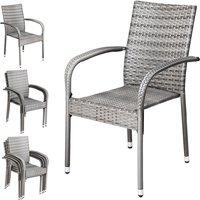 Poly Rattan 4 Pieces Set Chairs Comfortable Stackable Garden Patio Balcony Furniture Grey - Casaria
