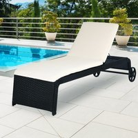 Poly Rattan Garden Furniture Sun Lounger Outdoor Patio Day Bed Recliner Terrace Black Wicker Cushion and Castors - Casaria