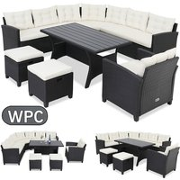 Casaria Poly Rattan Seating area with WPC Table Armchair Stool Pads Cushions 9 People Corner Lounge Outdoor Garden Furniture Lounge Set