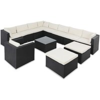 Poly Rattan XXXL Lounge Set with Cushions and 2 Stool Garden Outdoor Patio Furniture - Casaria