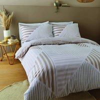 Blok Geo Natural Super King Duvet Cover Set Easy Care Bedding - Catherine Lansfield