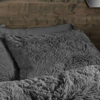 Catherine Lansfield Cuddly Deep Pile Single Duvet Set Charcoal