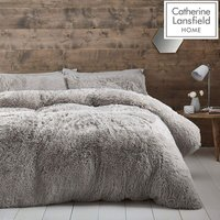 Catherine Lansfield Cuddly Double Duvet Cover Set Silver - BIANCA