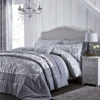 Catherine Lansfield Damask Jacquard single Duvet Set, Silver